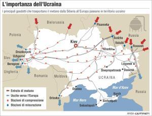 La rete dei gasdotti che trasportano il metano dalla Russia all'Europa passando dall'Ucraina